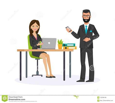 employe de bureau employ 233 de bureau femme parlant avec le conseil