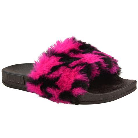 fur slippers womens flat farrah rubber sliders mules faux fur