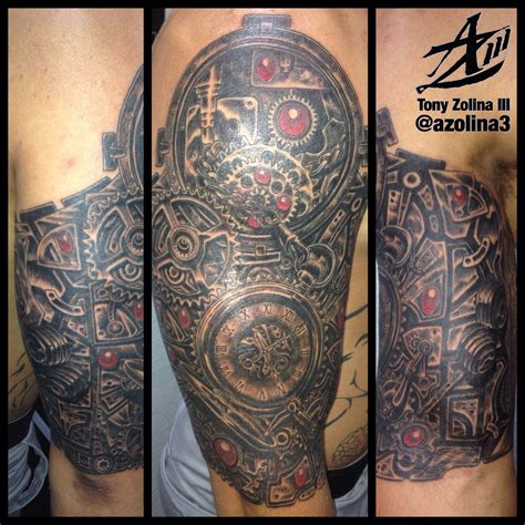 gear tattoo sleeve steunk pocket and gears 1 2 sleeve done in one 10