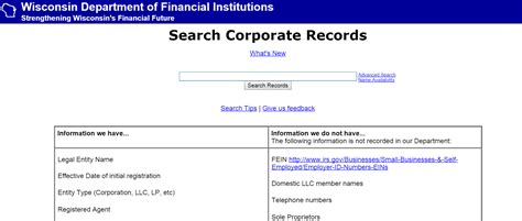 Wisconsin Search Wisconsin Business Entity And Corporation Search Wi