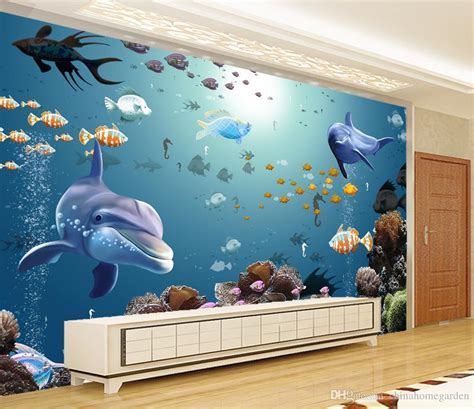 aquarium wall mural 3d stereo underwater world aquarium tropical fish tv wall mural 3d wallpaper 3d wall papers for