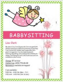 Big block letters simple tear off baby sitting flyer and more