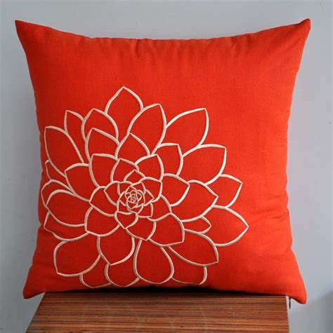 orange pillows for couch orange succulent throw pillow cover decorative pillow