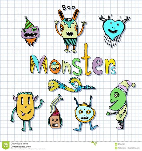 doodle characters monsters colored monsters characters doodle set vector handdrawn