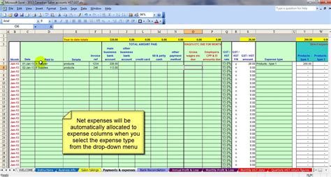 bookkeeping template canadian salon gst hst accounting spreadsheet