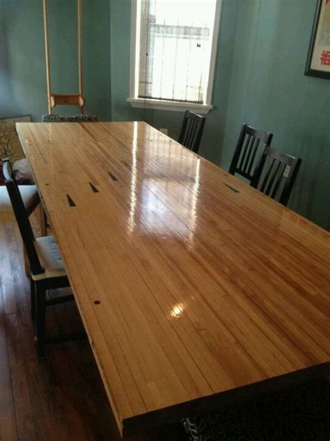 table made from bowling alley wood for the home