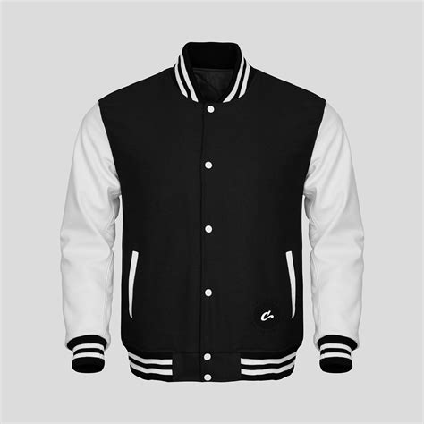 White Faux Leather by White Faux Leather Sleeves Black Wool Varsity Jacket Clothoo