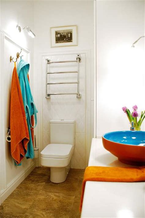 Bright Colored Bathroom Accessories Bright Decorating Colors Turning Small Apartment Into Oasis