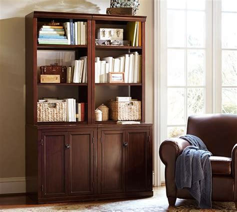 logan bookcase with doors pottery barn
