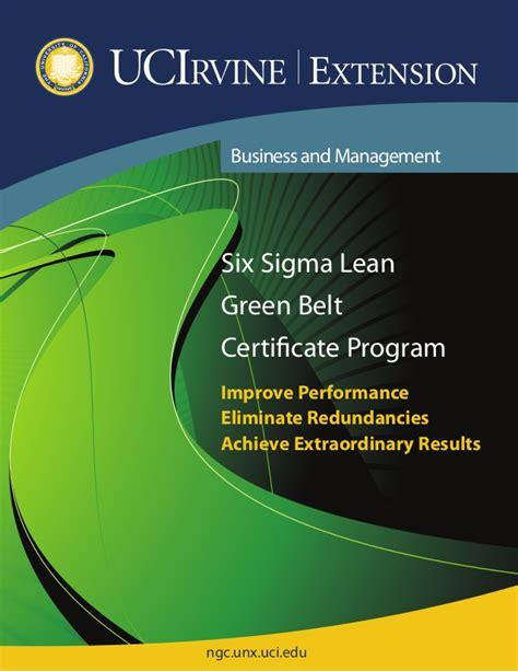 Lean Six Sigma Green Belt Bu Mba Certification by Six Sigma Lean Brochure Chester W1