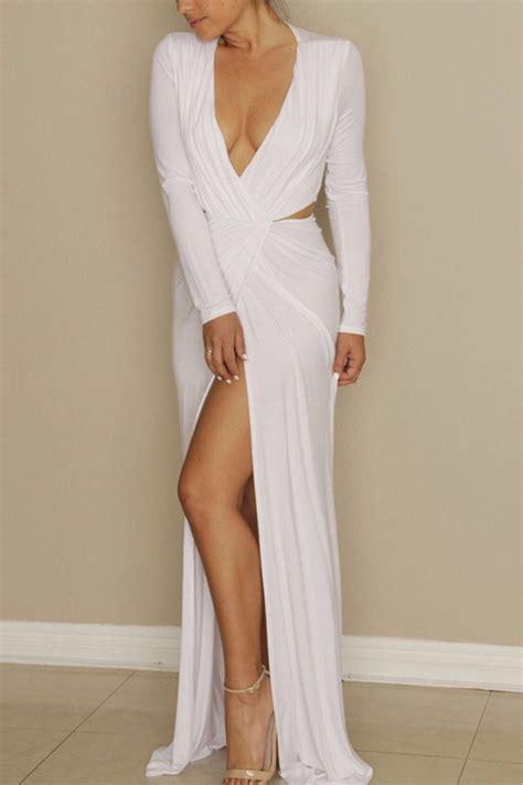 white  neck long sleeve high slit maxi dress