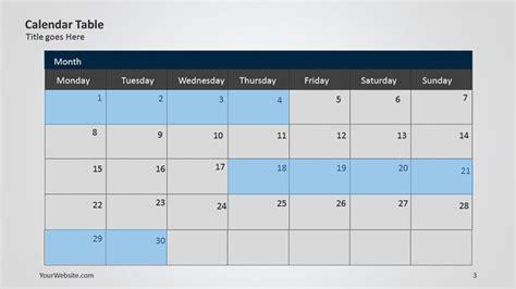 Calendar Slides Calendar Powerpoint Table Slide
