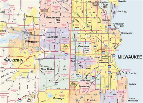 zip code map milwaukee themapstore southeastern wisconsin 9 county zip code