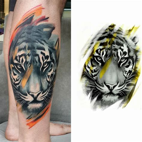 tiger design tattoos tiger on right thigh by joe carpenter