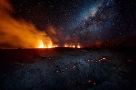 landscape volcano eruption sky lava island smoke