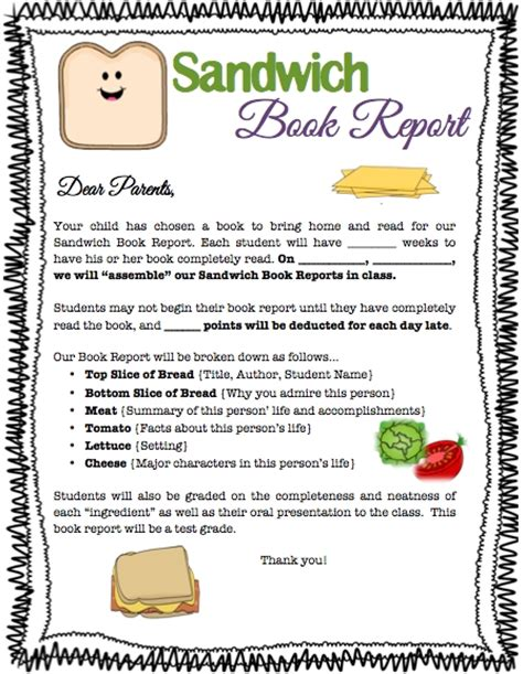 sandwich book report template free sanjonmotel