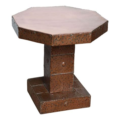 arts and crafts hammered copper octagonal table at
