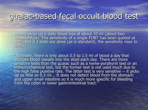 Guaiac Positive Stool by Stool Occult Blood Test