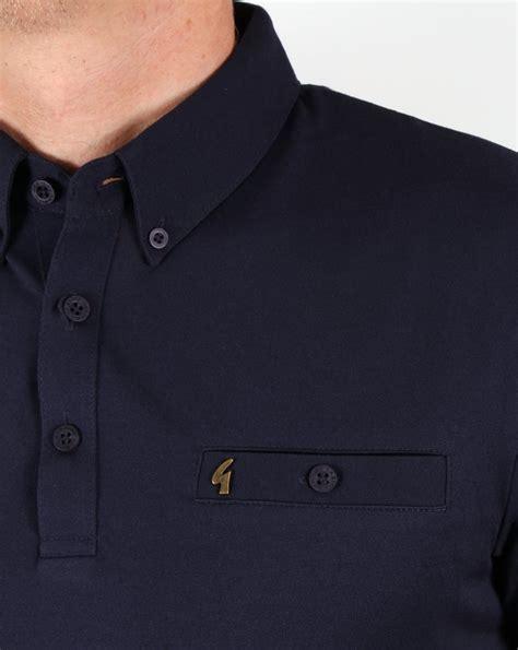 gabicci vintage polo shirt navy button smart mens