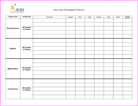 semester plan template college course planner template best free home