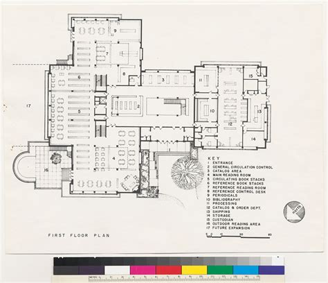 University Library Floor Plan by Dominican College Library First Floor Plan San Rafael 1958