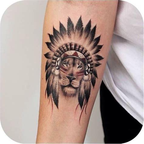 tattoo of a lion indian chief cool tatuajes