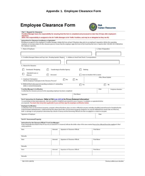 clearance form template 8 sle employee clearance forms sle forms