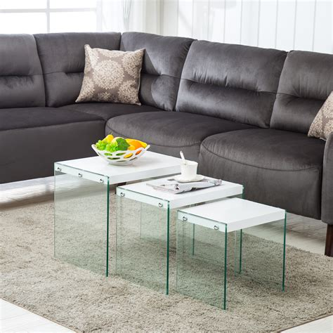 White Coffee Table Ebay Modern Nest Of 3 White Coffee Table Side End Table Living Room Furniture Ebay