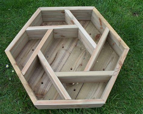 Handmade Wooden Planters - wooden herb wheel planter wood trough timber hexagonal
