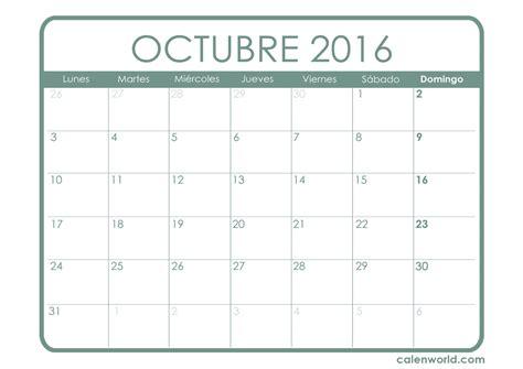 Calendario 2016 Octubre Calendario Octubre 2016 Calendarios Para Imprimir