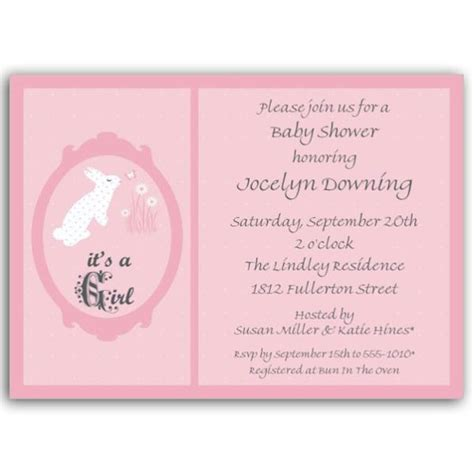 Red Baby Shower Invitations by Bunny Pink Baby Shower Invitations Paperstyle