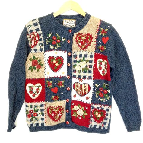 valentines day sweaters patchwork hearts and roses tacky valentines sweater