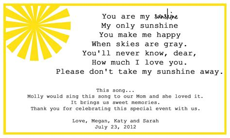 full version you are my sunshine you are my sunshine song lyrics card