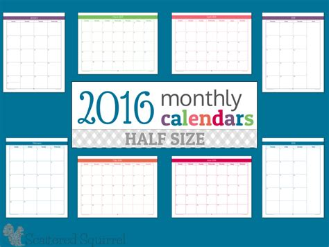 printable calendar half size 2016 monthly calendar archives scattered squirrel