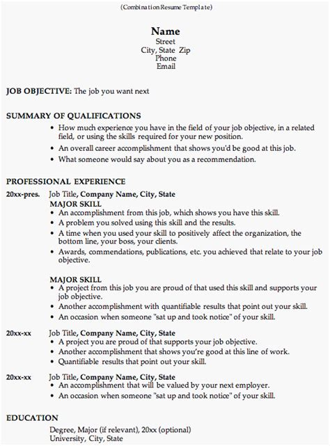 resumé templates combination resume template