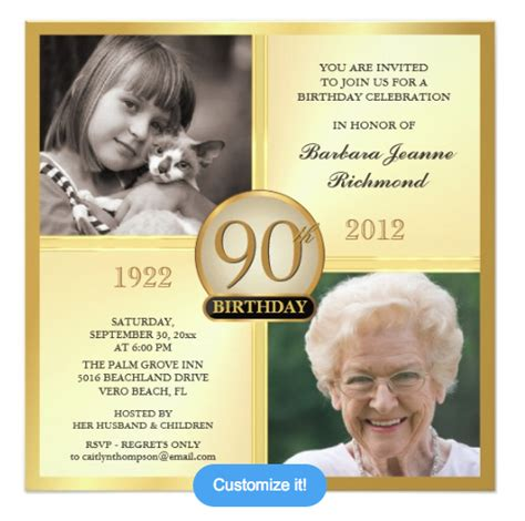 90 Birthday Invitation Card Template by 90th Birthday Invitations And Invitation Wording