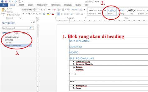 Cara Membuat Daftar Isi Di Word Dengan Heading | cara membuat daftar isi dengan headings di word belajar