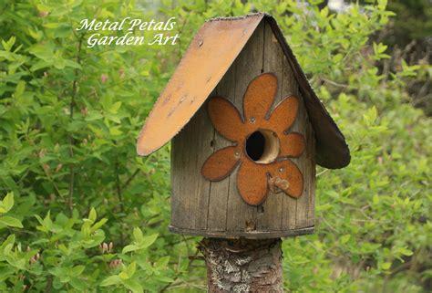 backyard birdhouse metal petals garden art recycled birdhouses