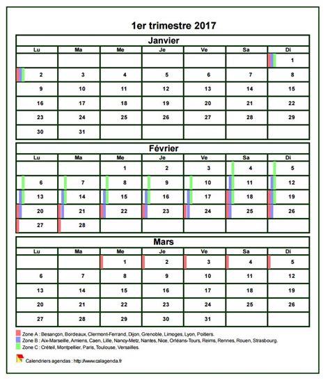 Calendrier Des Congés Scolaires 2017 Calendrier 2017 224 Imprimer Trimestriel Format Mini De