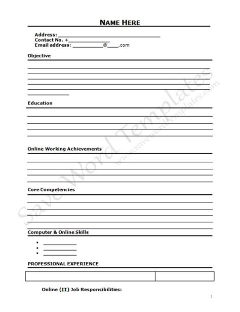 blank cv format word blank cv template free uk