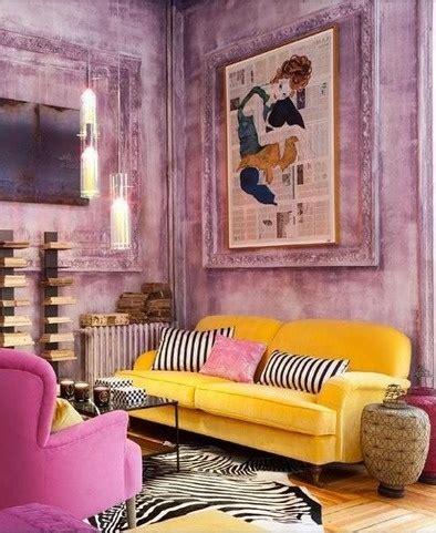 yellow pink  mauve living room interiors  color
