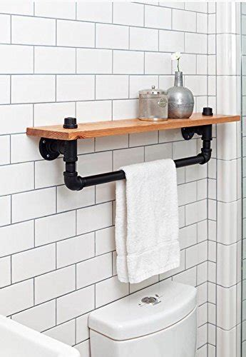 black bathroom shelf industrial towel rack shelf rustic bathroom accessory