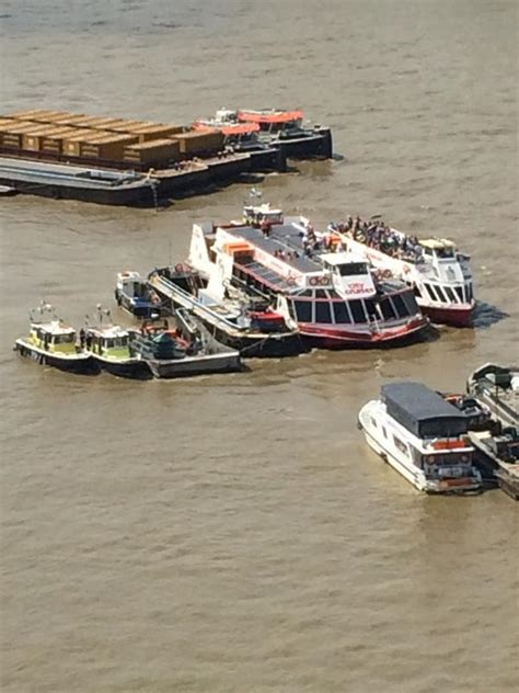 boat crash thames barge crashes into river boat on the river thames itv news