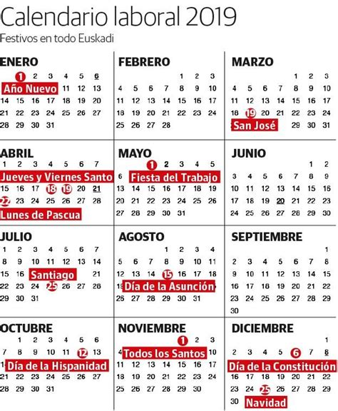 calendario vasco calendario laboral 2019 festivos y puentes en euskadi