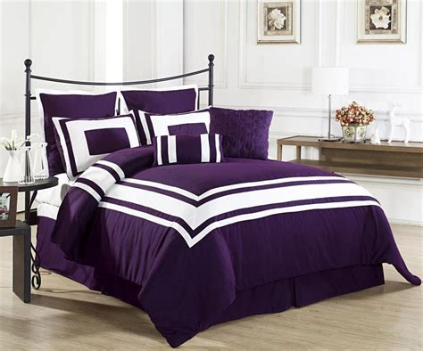 dark purple comforter lux d 233 cor dark purple 8pc comforter set white stripe