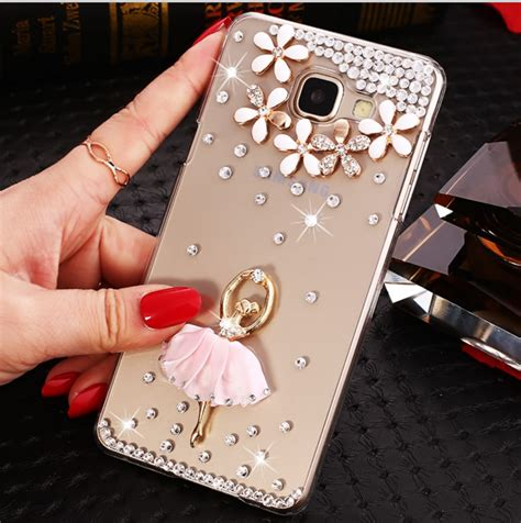 Softcase Samsung Galaxy A7 2017 Bling Iring Tali white flower ballet luxury style mobile phone shell for samsung galaxy a3 a5 a7 a7