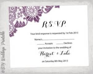 free printable wedding rsvp card templates wedding rsvp template diy plum purple quot antique