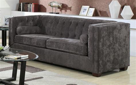 charcoal gray vvlvet sofa contemporary living room elle decor alexis charcoal sofa 504491 coaster