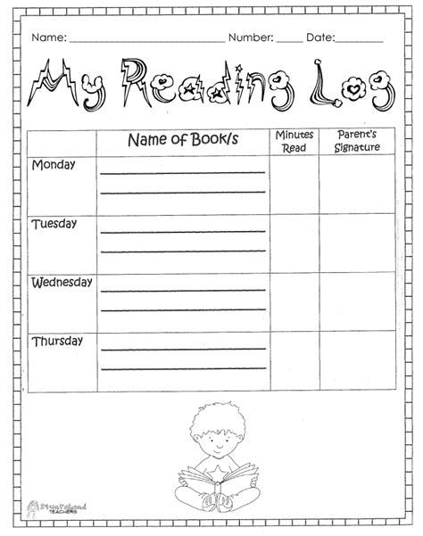 printable reading log for kindergarten printable monthly reading log for kindergarten best