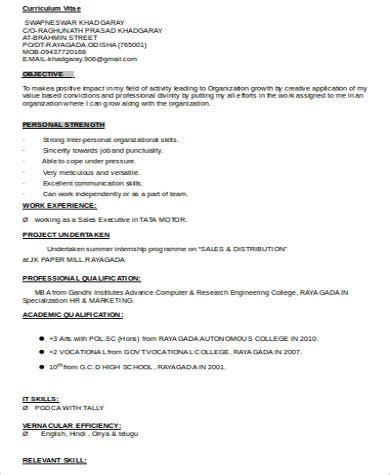 Mba Marketing Student Resume by Sle Mba Marketing Resume 6 Exles In Word Pdf